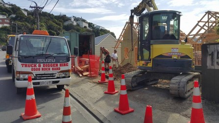Excavation for a new house in Raroa Road, Wellington